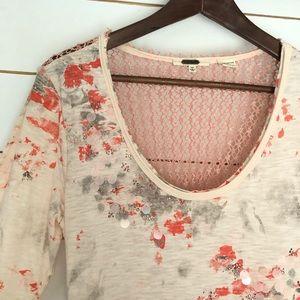 Miss Me pink embellished long sleeve top sz L